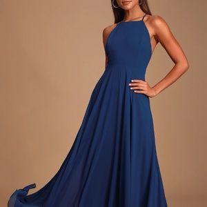 Navy Blue Maxi Bridesmaid Dress